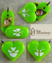 Load image into Gallery viewer, 1965 Thin Neon Green Acrylic Butterfly Illusionist Locket