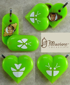 1965 Thin Neon Green Acrylic Butterfly Illusionist Locket