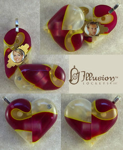 1986 Thin Banana Split Acrylic Illusionist Locket