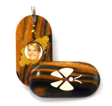 Load image into Gallery viewer, 2034 Thin Black & White Ebony Wood Illusionist Locket