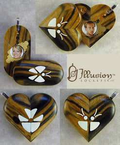 2034 Thin Black & White Ebony Wood Illusionist Locket