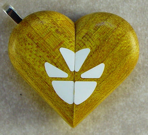 2047 Thin Yellow Curly Maple Wood Butterfly Illusionist Locket
