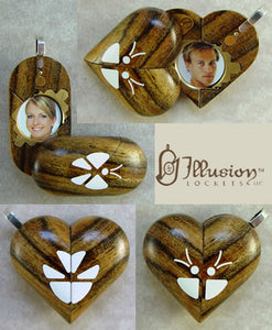 2182 Slim Bocote Wood Magic Illusionist Locket