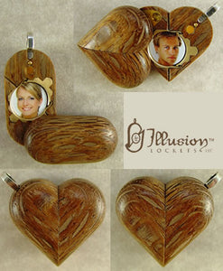 2650 Slim No Image Leopard Wood Illusionist Locket