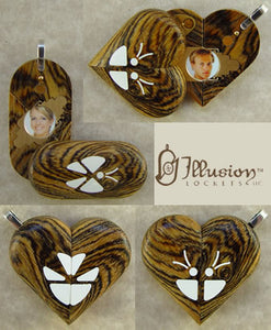 2927 Thin Bocote Wood Illusionist Butterfly Locket