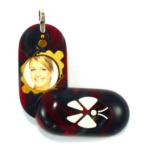 3105 Slim Scarlet Grey Acrylic Butterfly Illusionist Locket