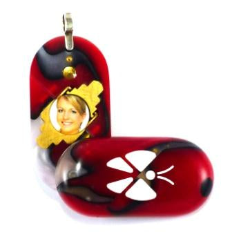 3114 Thin Fire & Ice Acrylic Butterfly Illusionist Locket
