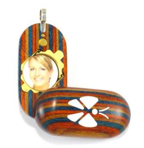 3688 Slim Unique Wood Illusionist Locket