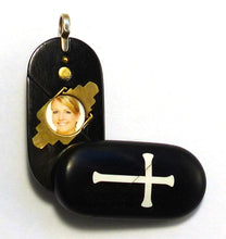 Load image into Gallery viewer, 4129 Natural Cross - Christian Fish Illusionist Locket