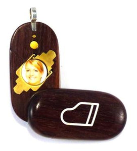 4166 Thin Coco Bolo Wood Piano Music Note Illusionist Locket