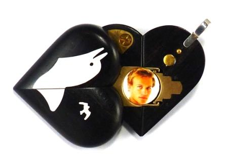 4354 Thin Ebony Wood Sail Boat Illusionist Locket That Transforms Into a Dolphin Locket