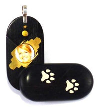 Load image into Gallery viewer, 4663 Thin Paw Print Ebony Wood Illusionist Locket