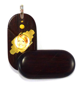 4687 Thin Coco Bolo Wood Illusionist Locket
