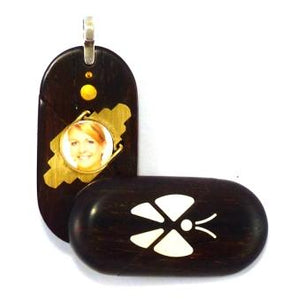4817 Thin Coco Bolo Wood Illusionist Butterfly Locket