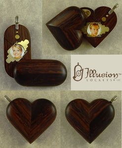 4842 Thin Coco Bolo Wood Illusionist Locket