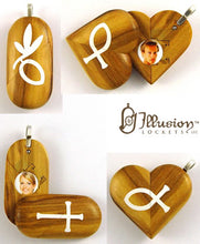 Load image into Gallery viewer, 4967 Natural Olive Wood Cross Locket That Transforms Into Christian Fish Illusionist Locket