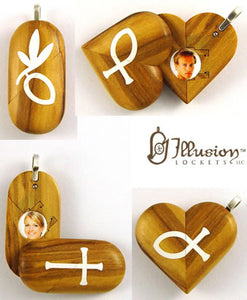 4967 Natural Olive Wood Cross Locket That Transforms Into Christian Fish Illusionist Locket