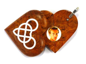 5082 Natural Cherry Burl Wood Double Infinity Illusionist Locket