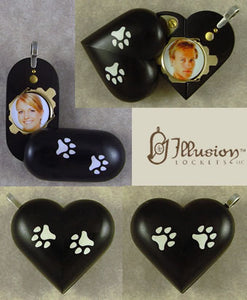 5164 Slim Paw Print Ebony Illusionist Locket