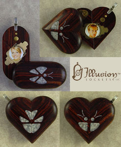 5195 Thin Unique Wood Illusionist Locket