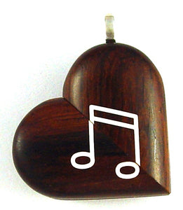 5215 Natural Coco Bolo Wood Piano Music Note Illusionist Locket