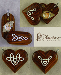5224 Thin Coco Bolo Wood Celtic Knot Illusionist Locket
