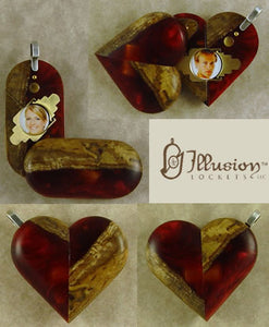 5295 Thin Burgundy Wood Acrylic Illusionist Locket