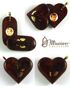 5361 Natural  Ambonyia Wood Gold Butterfly Illusionist Locket