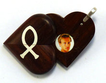 Load image into Gallery viewer, 5420 Natural Coco Bolo Wood Cross - Christian Fish Illusionist Locket