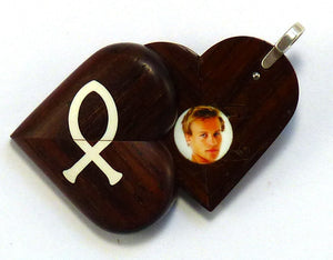 5420 Natural Coco Bolo Wood Cross - Christian Fish Illusionist Locket