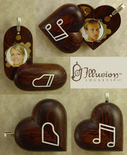 Load image into Gallery viewer, B065 Coco Bolo Wood Cremation Ash Piano Locket With Secret Compartments