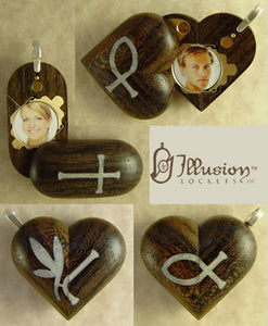 B069 Zircote Wood Cremation Ash Cross - Christian Fish Locket With Secret Compartments