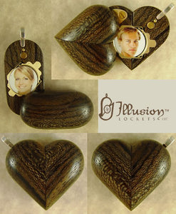 B086 Cremation Ash Zircote Wood Illusionist Locket With Secret Compartments