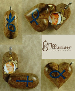 B093 Birdseye Maple Wood Cremation Ash Cross Christian Fish Locket With Secret Compartments
