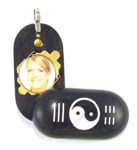 B031 Ebony Wood Cremation Ash Yin Yang Locket With Secret Compartments