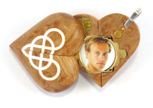 Load image into Gallery viewer, B121 Birdseye Maple Wood Cremation Ash Double Infinity Locket With Secret Compartments