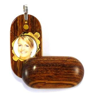 B132 Cremation Ash Wood Illusionist Locket With Secret Compartments