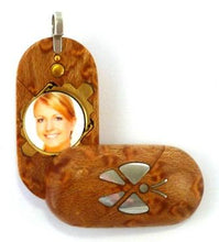 Load image into Gallery viewer, B146 Silver Butterfly Cremation Ash Locket With Secret Compartments Birdseye Maple