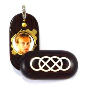 B197 Coco Bolo Wood Cremation Ash Double Infinity Locket With Secret Compartments
