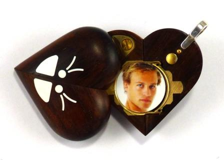 B203 Cremation Ash Butterfly Locket With Secret Compartments Coco Bolo Wood