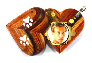 B217 Wood Cremation Ash Paw Print Locket With Secret Compartments