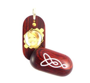 B024 Celtic Knot Cremation Ash Locket With Secret Compartments Rosewood Burgundy
