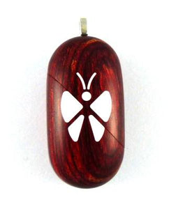 B020 Cremation Ash Butterfly Locket With Secret Compartments Rosewood Burgundy