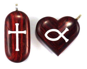 0015 Thin Cross Locket That Transforms Into Christian Fish Illusionist Locket Rosewood Burgundy