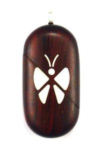 0003 Thin Butterfly Illusionist Locket Darker Coco Bolo Wood