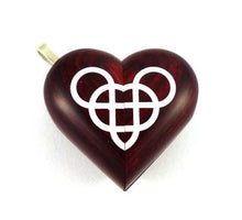 Load image into Gallery viewer, B022 Double Infinity Cremation Ash Locket With Secret Compartments Rosewood Burgundy