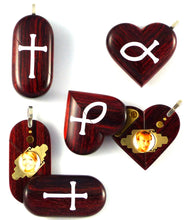 Load image into Gallery viewer, 0015 Thin Cross Locket That Transforms Into Christian Fish Illusionist Locket Rosewood Burgundy