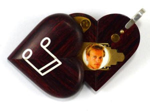 0008 Thin Piano Illusionist Locket That Transforms Into a Music Note Locket Rosewood Burgundy
