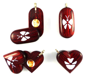 0018 Natural Butterfly Illusionist Locket Rosewood Burgundy