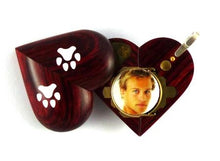 Load image into Gallery viewer, B025 Dog Cat Paw Print Cremation Ash Locket With Secret Compartments Rosewood Burgundy
